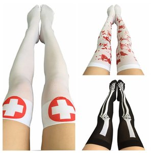 Wholesale 2018 Funny Cosplay Striped Over The Knee Stockings Halloween Blood Forked Bone Pattern Women s Cosplay Terror Blood Socks