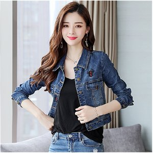 Wholesale Jeans Jacket Women Streetwear Vintage Clothes Blue Denim Jackets Casual Korean Short Coats