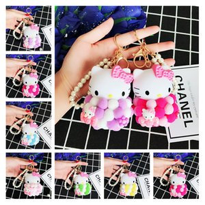 Wholesale Fluffy Ball Cat Keychain Couple Keyrings Styles Designer Cartoon Cat Beaded Chain Cute Keychains for Girls Best Friendship Gifts