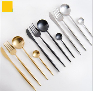 Wholesale Gold Black Dinnerware Set Stainless Steel Western steak Cutlery Set Kitchen Food Tableware Sliver Dinner Flatware Set