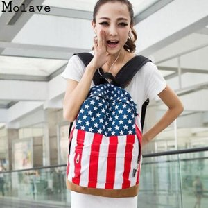 Wholesale MOLAVE Fashion Casual Women Bag UK British Flag Union Jack Style Backpacks Shoulder School Bag Travel BackPack Canvas August6