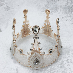2021 New Cake Toppers Decorations Retro Crystal Crown Shaped Girls Princess Birthday Cake Tools Baked Dessert Favors Hot Selling