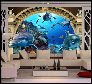 Custom 3d photo European Dolphin Roman Column 3d wallpaper mural for living room tv background 3d wall paper mural on Sale