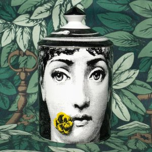 Wholesale Novelty Fornasetti Candle Holder European Style Home Furnishing Decorate Ceramic Cup Aromatherapy Ornaments Flower Pots New Arrival 119al BB