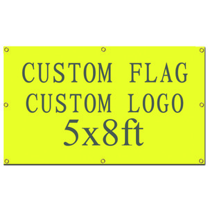 Digital Printing High Quality Custom design custom flag 5x8ft 100% Polyester banner with metal grommets customized flag