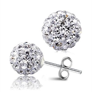 New Women's Fashion Girls Trending Rhinestone CZ Flower Bud Ball Stud Earrings