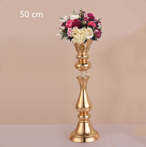 Wholesale gold stems resale online - new style gold stemmed pillar wedding candle holder