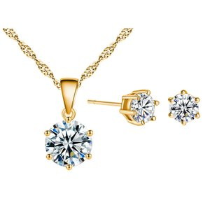 Wholesale Six Claws Cupid Zircon CZ MM Piercing Brincos Stud Earrings MM Pendant Necklace Fashion Jewelry Sets for Women Kids Girls