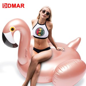 Wholesale DMAR cm inch Inflatable Flamingo Rose Gold Giant Pool Float Toys Swimming Ring Circle Sea Mattress Beach Party Unicorn