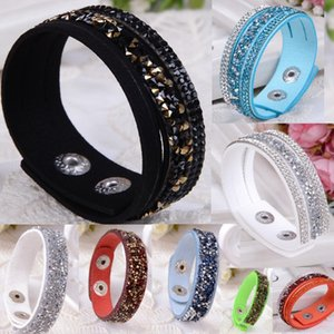 Wholesale 34 colors Backward Rhinestones Multilayer Wrap Bracelet Colorful PU Flocking Leather Charm Bangles Wristband Women Christmas Gift