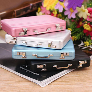 Wholesale New Fashion Metal Mini Suitcase Business Card Name Card Holder Case Box Colors For Choose