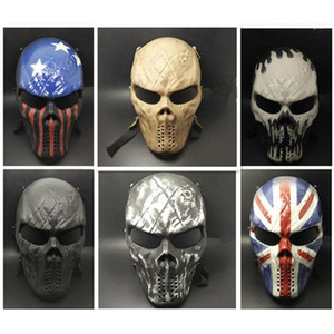 Wholesale Airsoft Paintball MetalMesh Eye Protect Full Face Mask Cosplay Game Skull for CS game Outdoor Sports and Halloween Cosplay