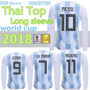 Wholesale 2018 World Cup Argentina away Jersey Long sleeve MESSI DYBALA DI MARIA AGUERO HIGUAIN soccer shirt home national team POLO Football jersey