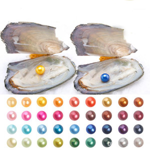 Free Shipping 2019 Pearl Oyster with Natural Grade 6-7 mm Round Multicolored Freshwater Wish Pearl Vacuum Package for Kids Party Fun Gifts