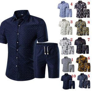 Summer Men Printed T-shirt + Shorts Decorative Pattern Two Piece Sets Plus Size H9 on Sale