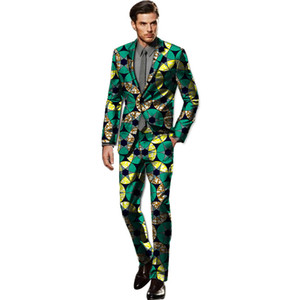 African custom made blazer sets handsome men fashion print dashiki suits tailor made blazers and pants set africa clothing on Sale