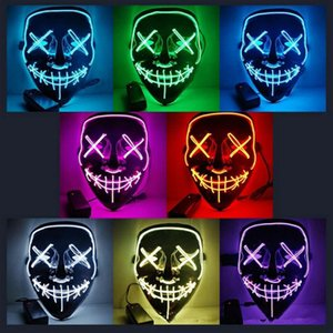 Wholesale 10styles Halloween El Wire Cold Light Line Ghost Horror Mask LED Party Cosplay Masquerade Street Dance Halloween Rave Toy AAA1066