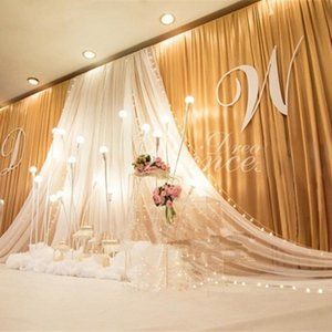 Wholesale Exquisite Yarn Ceiling Backdrop High End Background Satin Curtain For Wedding Party Stage Decoration Props Top Quality gd2 BB