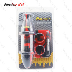 Wholesale Nectar Collector Kit Glass Bong Silicone Oil Burner with Titanium Nail Silicone Dab Rig colors for choose DHL