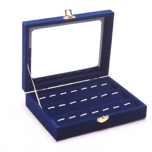 New Style Delicate Blue Wood Jewelry Display Case All Jewelry Collection Showcase Functional Tray Glass Lid Holder Box