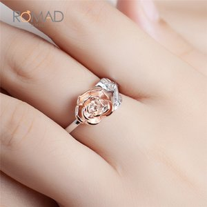 Wholesale Rose Flower Ring For Women Fashion Rose Gold Color Adjustable Wrap Open Rings anillos mujer Wedding Jewelry bijoux femme Z4