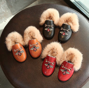 Wholesale Sneakers Baby Girls Boys Cotton-padded Shoes Cartoon Honeybee Soft Sole Children Casual Shoes Autumn Winter Warm Flat Shoes Kids 21-30
