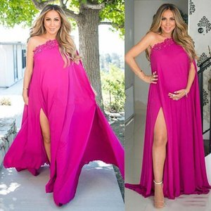 Wholesale Fuchsia One Shoulder Pregnant Evening Dresses For Woman Split Side Plus Size Chiffon Maternity Dresses 2018 With Applique Long Prom Gowns