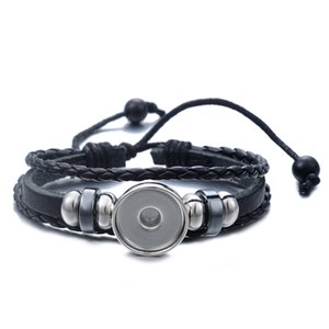 Wholesale Snap Button Leather Bracelet Drawstring Black DIY Fit mm Noosa Glass Cabochon Wristband Adjustable Charm Bracelets Men Women Jewelry