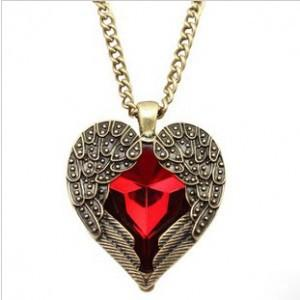 Wholesale Sweater Chain Lover Necklace Jewelry Complex Ruby Red Crystal Stone Love Angel Wings Peach Heart Long Pendent Necklace Jewelry