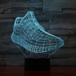 Running Shoes Lamp 3D Optial LED Lamp Night Lamp 5th Battery USB Powered 7 RGB Light DC 5V Wholesale Free Shipping