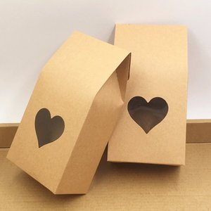100pcs lot kraft paper bags boxes Paper brown stand up window for wedding Gift Jewelry Food Candy Packing Bags 8x5x16cm