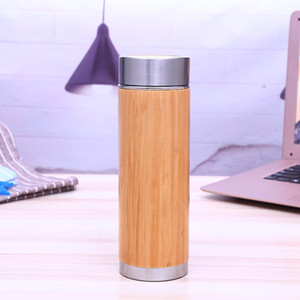 Wholesale Bamboo Stainless Steel Water Bottle Vacuum Insulated Travel Vacuum Cup with Tea Infuser Strainer ML W7300