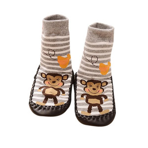 All season use Cartoon monkey Kids Toddler Baby Anti-slip Sock Shoes Boots Slipper Socks botas de s # factory supply
