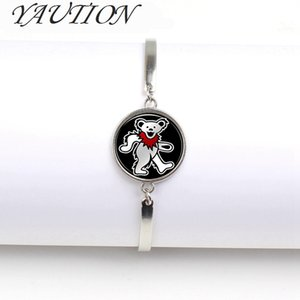 Wholesale YAUTION Grateful Dead Bear Glass Tibet Silver Charm Bracelets Jewelry Men Bracelets Private custom gift