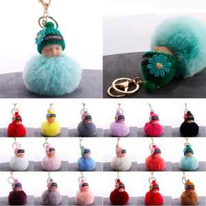 Wholesale Fluffy Fur Pompom Keychain Cut Sleeping Baby Doll Keyrings Fake Rabbit Fur Key Holder Fur Ball Pompom Keychains Styles Free DHL H602Q