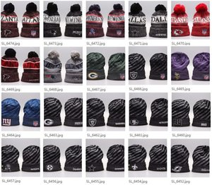 Wholesale 2019 New Arrival Beanies Hats American Football teams Beanies Sports winter side line knit caps Beanie Knitted Hats drop shippping B08