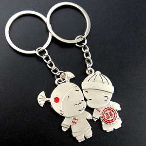 100pairs lot Good Luck Couple Boy Girl Love Keychain Fashion Men Women Keyring Key Chain Valentine's Day Birthday Gift For Lover