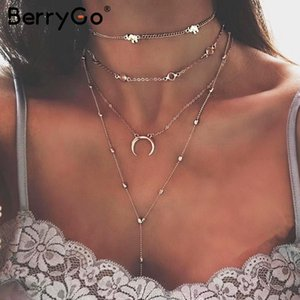 Wholesale BerryGo Multilayer moon statement necklace Trendy styles streetwear gold necklace long Fine jewelry women clothing accessories