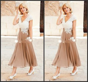Wholesale 2019 New A Line Mother Dresses V Neck Ankle Length Party Dresses For Mother Formal Wear with Cap Sleeve Mother of the Bride Dress 476