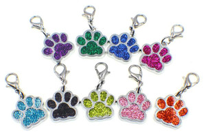 Wholesale 20pcs Bling dog bear paw footprint with lobster clasp hang pendant charms fit for diy keychains necklace making