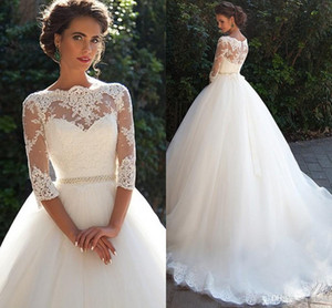 Wholesale long gowns three quarter sleeves resale online - Vintage Lace Ball Gown Wedding Dresses with Three Quarter Long Sleeves Sheer Neck Tulle Bridal Gowns with Covered Buttons