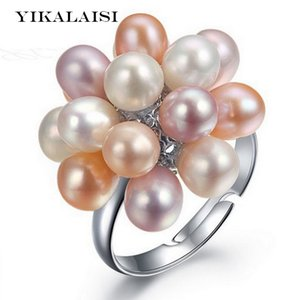 Wholesale YIKALAISI brand Hot Fashion Real Pearl Jewelry Water Drop Natural Freshwater Pearl Flower Wedding Ring For Women Gift