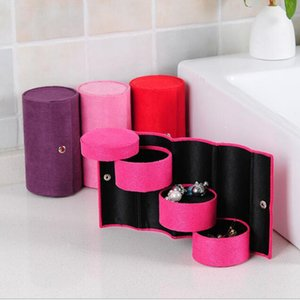 Wholesale New Layers Jewelry Boxes Display Gift Box Cylinder Organizer Flannel Round Portable Travel Storage Makeup Carrying Case