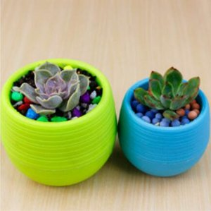 Wholesale Hot CM Cute Round Home Garden Office Decor Planter Plastic Plant Flower Pots Garden Supplies