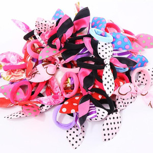 Wholesale 10PCS New Fashion Gilrs Cute Rabbit Ears Elastic Hair Rubber Bands Accessories Women Ponytail Hair Holders Tie Gum