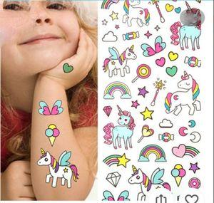 Waterproof temporary fake tattoo stickers pink unicorn horse cartoon design kids child body art make up tools