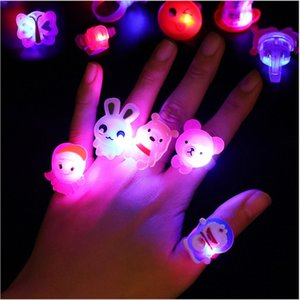 Wholesale Lighting Cartoon Gelatin Ring Luminous Rings Finger Led Light Christmas Toys Party Supplies Halloween Christmas Decoration 0 28be gg