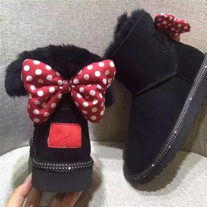 Wholesale Winter Kids Snow Boots Genuine Leather Boots for Children Cute Carton Dots Bow Kids Girls Warm Shoes