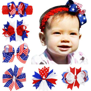 Wholesale American Patriotic Day Flag Hair Clips Child Fashion Ribbon Bow Baby Girls Barrettes USA National Holiday Hair Accessories
