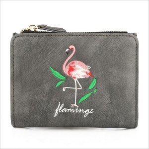 Wholesale Fashion Cartoon Short Wallet Lovely Flamingo Students Purses Embroidery Cute Animal Simple Purse Hasp Zipper Coin Bag Carteira feminina